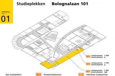 Bolognalaan 101 plattegrond eerste verdieping / first floor map
