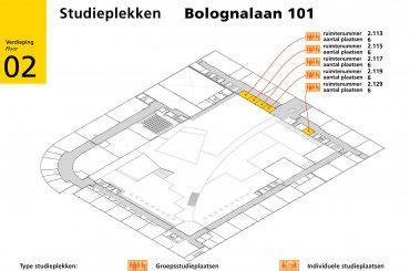 Bolognalaan 101 plattegrond verdieping 2 - second floor map