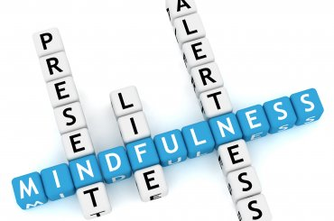 Het woord mindfulness in Boggle letters