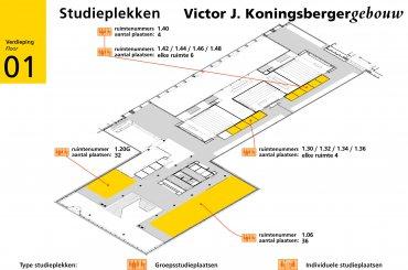 Plattegrond Koningsbergergebouw - eerste verdieping / Map Koningsberger building - first floor