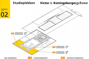 Plattegrond Koningsbergergebouw - tweede verdieping / Map Koningsberger building - second floor