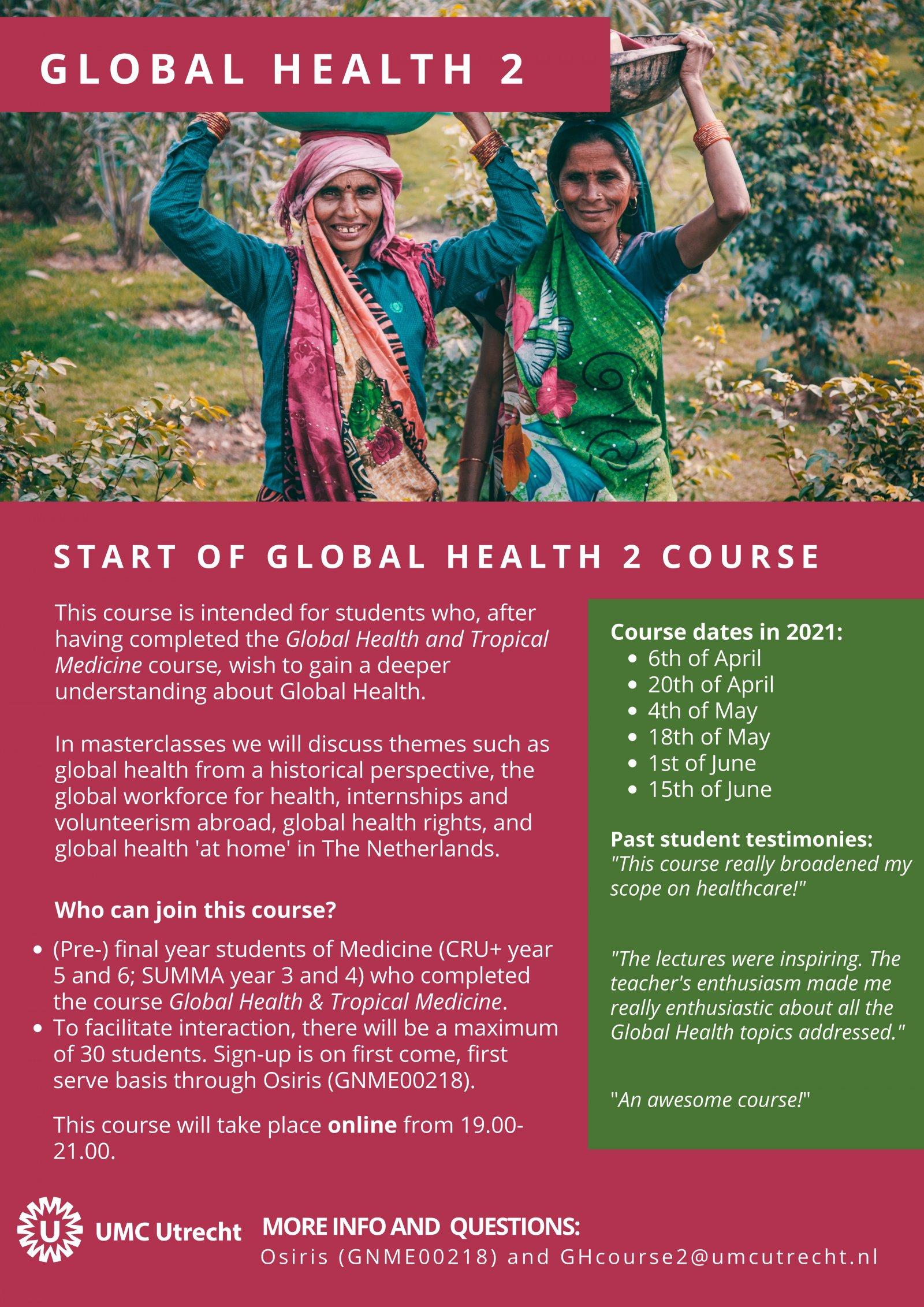 Poster van de Global Health 2 course