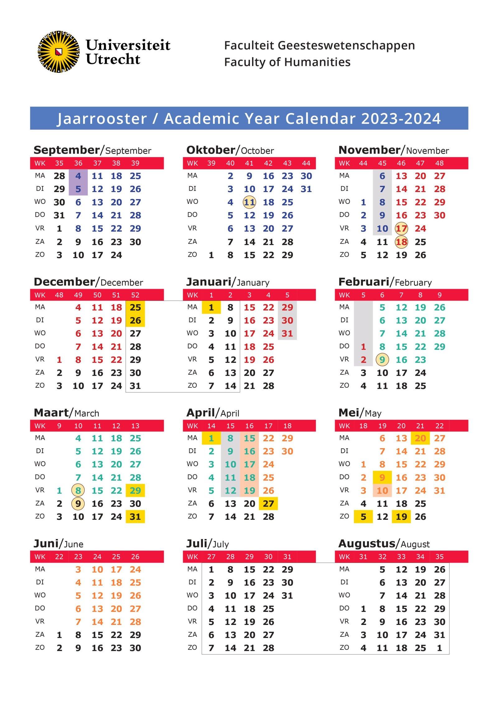 Academische jaarkalender Faculteit Geesteswetenschappen
