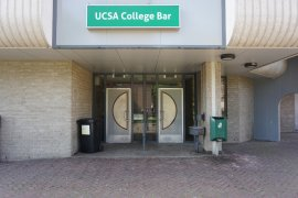 The entrance to the college bar of Dining Hall