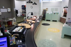 The lunch room counter of the Jeannette Donker-Voet building