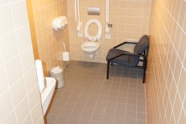 The accessible toilet at the Leonard S. Ornstein Laboratory