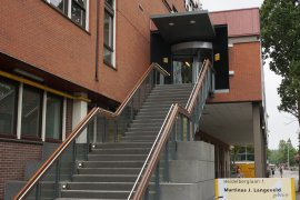 The staircase leading to the main entrance of the Martinus J. Langeveld building