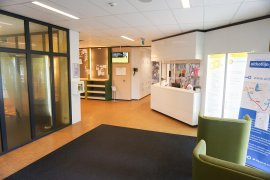 The hall behind the main entrance of the Martinus J. Langeveld building