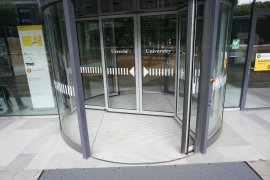 Revolving doors of the main entrance of the Venig Meinesz building