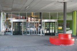 The main entrance of the Willem C. van Unnik building