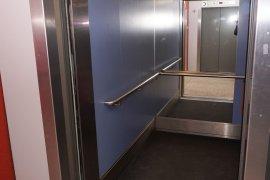 One of the elevators of the Willem C. van Unnik building