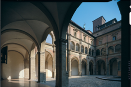 A beautiful ancient courtyard at the University of Bologna.