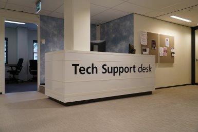 Afbeelding van de balie van de Tech Support desk