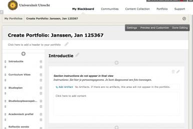 Screenshot van portfolio-opzet bij LAS