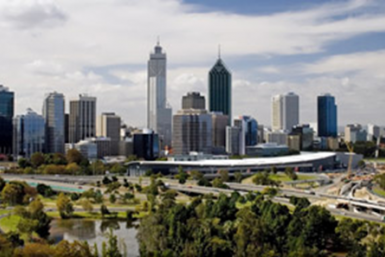The skyline of Perth, with a few sky scrapers and smaller office towers.