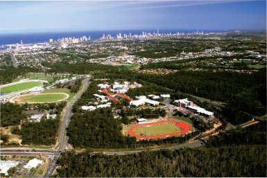 The Griffith University Brisbane campus from the sky.