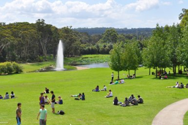 Studenten ontspannen in een mooi park met een fontein.