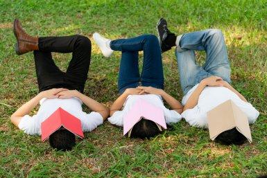 afbeelding studenten slapen op het gras