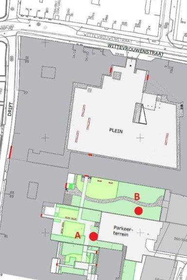 Plattegrond UBB met 2 opties voor rookfaciliteit