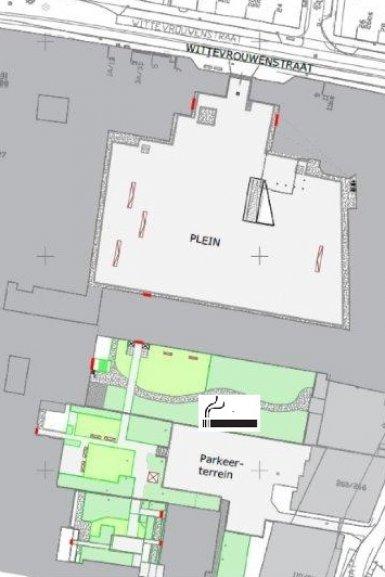 Plattegrond UBB met locatie rookfaciliteit
